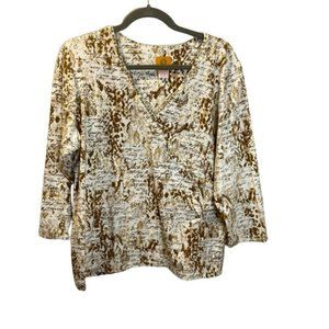 Ruby RD Women 3/4 Sleeve V Neck Tops Casual Blouse